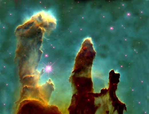 """Famous Picture Taken by Jeff Hester through Hubble, """"Pillars of Creation'"""