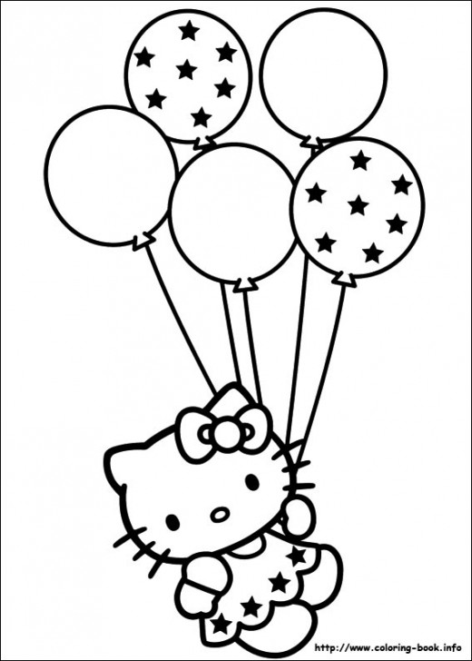 Hello Kitty Holding Balloons