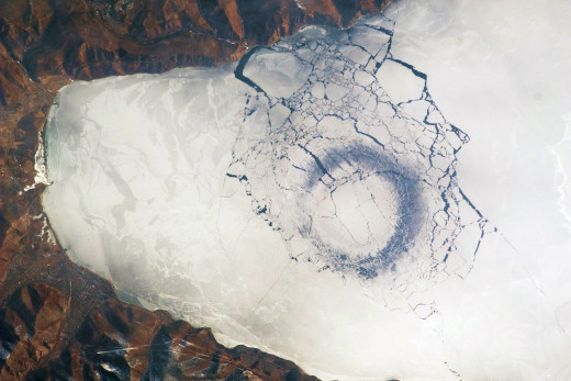This is the famous image taken from the International Space Station of the ice circle in Russia.