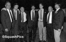 A classical picture showing British open Greats Jahangir Khan (10 times champion), Geoff Hunt (8), Hashim Khan (7), Jonah Barrington (6), Azam Khan (4), Roshan Khan and Qamar Zaman (1 each).