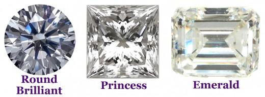 Diamonds in round brilliant, princess, and emerald cuts.