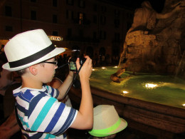 Our eldest son, with a newly discovered passion for photography, takes a pic of the fountain