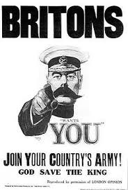 Poster featuring General Kitchener shown throughout Britain during First World War to encourage conscription.