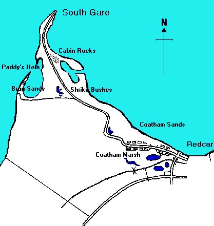 South Gare, north-west of Coatham. Not marked on the map is the ore terminal and Warrenby works to the west of Coatham, close to where the road bends sharply