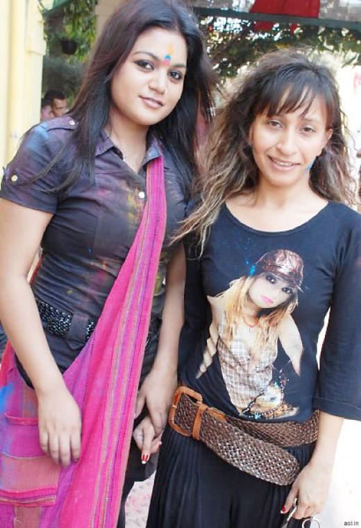 sexy girls at holi celebration