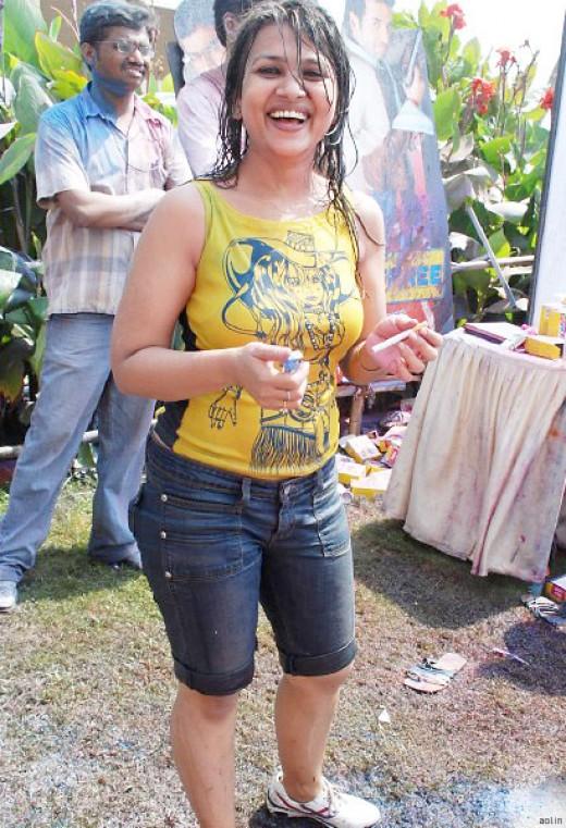 sexy girl at holi celebration