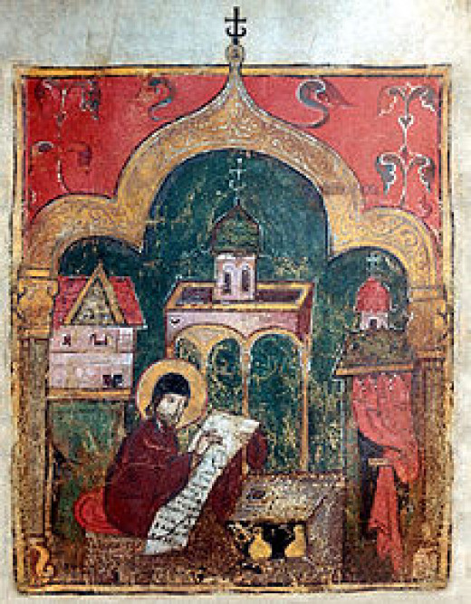 """""""George the Monk at work"""", an early 14th-century miniature from Tver"""