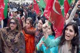 PTI women's rally. PTI is the sitting provincial government in the province.