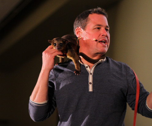 Jeff Corwin and a kinkajou