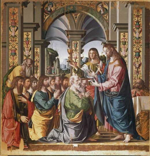 Holy Communion of Apostles (1506) - Oil on wood, Pinacoteca Civica, Forlì, Marco Palmezzano (1460–1539)  Italian painter and architect,