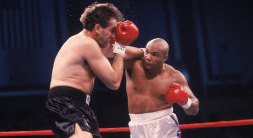 George Foreman, pictured knocking out Gerry Cooney, fought several comeback bouts on Tuesday Night Fights.