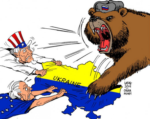 Political cartoon portraying an aggressive Russian bear digging its claws into Ukraine.