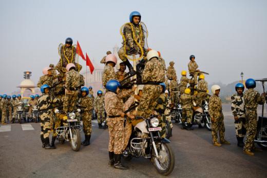 Army doing stunt on En-field bikes