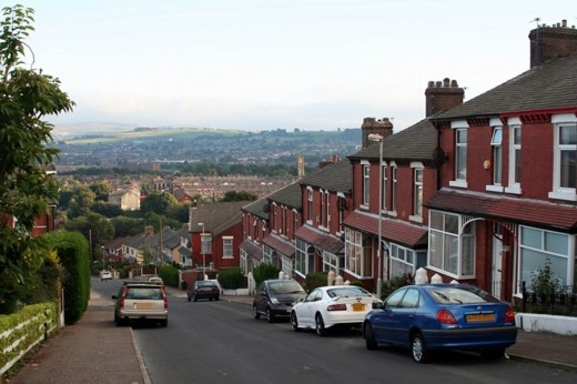 The urban streets of Blackburn, Lancashire, where a domestic rabbit suddenly ran out in front of my car.