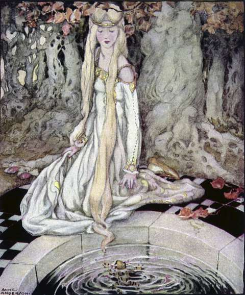 Princess and a frog (by Anne Anderson, 1874-193?)