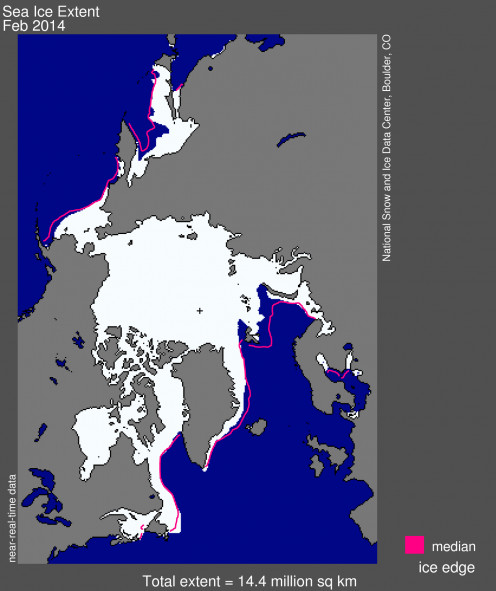 Arctic Sea Ice: white = current (Feb 2014); pink = median (February 1981-2010)