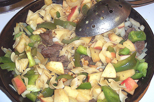 Once the ingredients are in the pan, this dish cooks relatively quickly. Stir regularly.