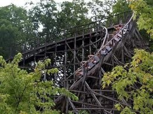 DollyWood is located in Gatlinburg, Tennessee and it features roller coasters as well as other amusement park rides.