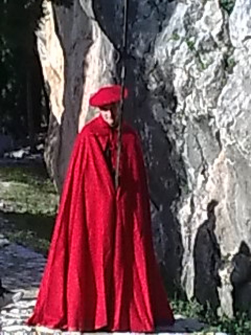 On the Open day of events an individual stood as a guard like in the ancient times and dressed in red  to show his position.
