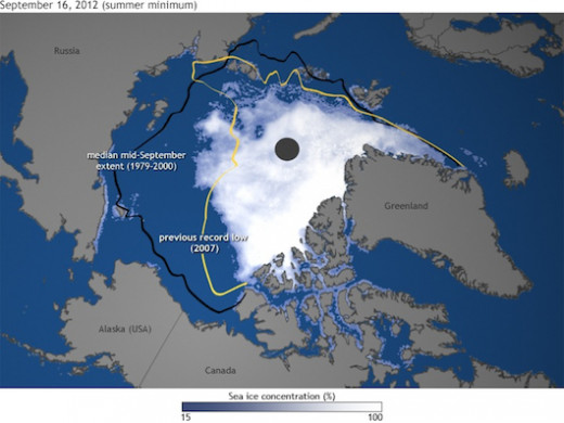 The minimum sea-ice coverage for 2012 (as compared to previous years)