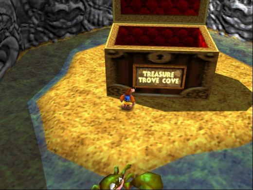 Treasure Trove Cove's world entry/exit is both appropriate and more exciting than the lump of rock that served as Mumbo's Mountain's entry/exit.
