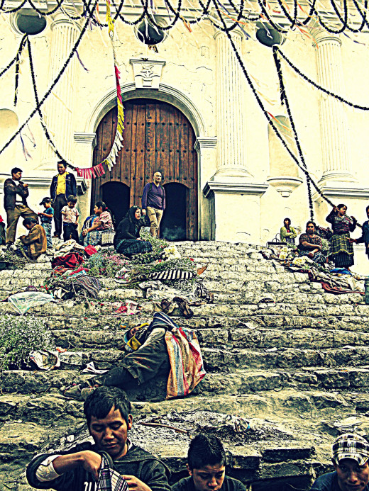 Offerings on the steps of the Chi-Chi church