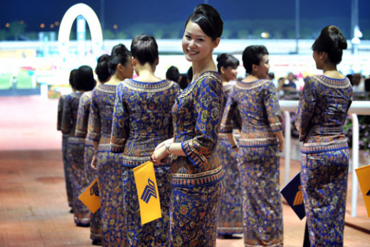 Singapore Girls in Sarong-Kebaya Uniform