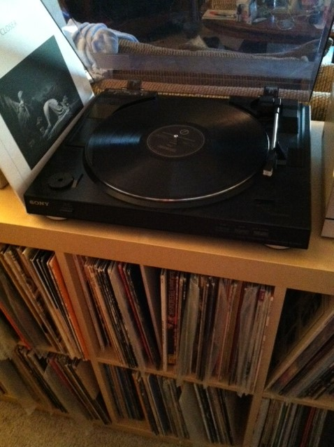 Husband's record player (and part of record collection below)