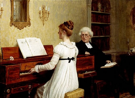 This young Victorian woman might be playing  such songs those played in the drawing room of the novel's heroine?