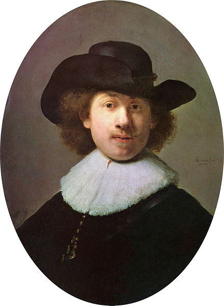Rembrandt in a self-portrait in a wide-awake hat.