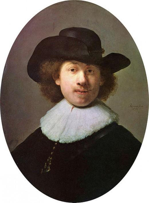 Rembrandt in a self-portrait in a wide-awake hat.