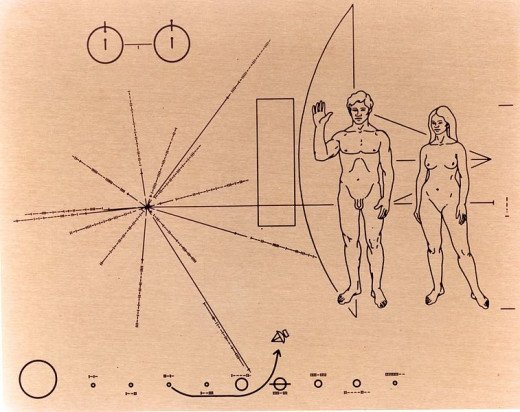 NASA image of Pioneer 10's famed Pioneer plaque features a design engraved into a gold-anodized aluminum plate