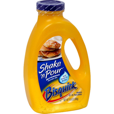 Bisquick Shake and Pour Pancake Batter.  Add water and shake.