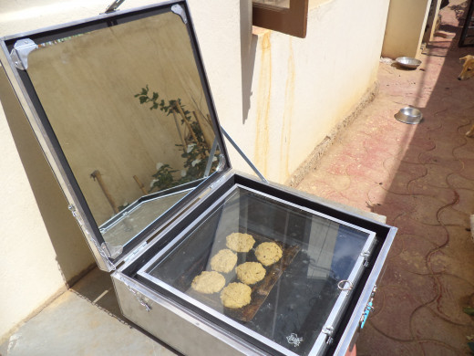 My Solar Box Cooker Baking Cookies