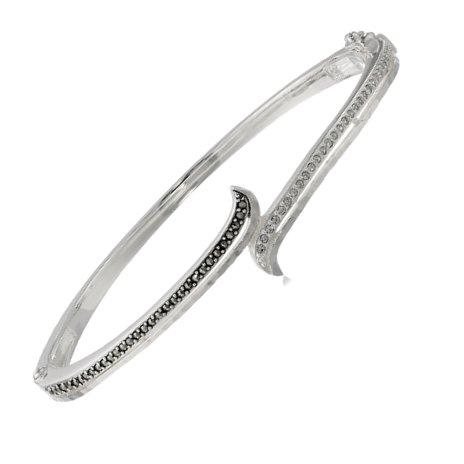 "Judith Jack ""Paradise"" Hammered Silver and Marcasite Bangle Bracelet, 2.7"""