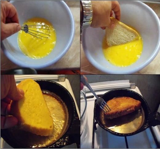Dipping the bread for French toast. Don't rush the dipping, but allow time for the mixture to infuse into the bread