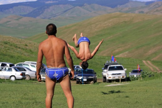 "Mongolian folk wrestling, featuring gravity-defying, ""G""-string acrobatics."