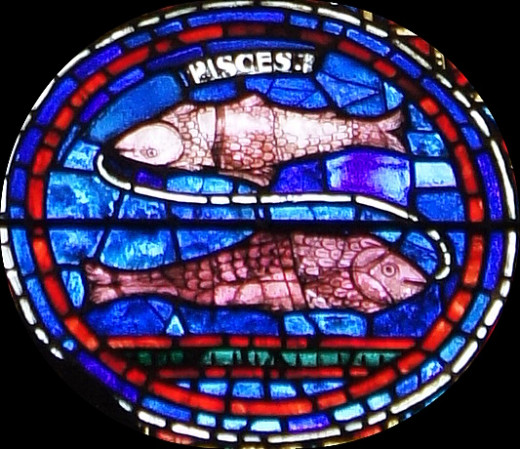 Stain-glass window with the Pisces fish