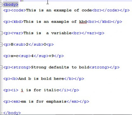 HTML source for the tags mentioned above.