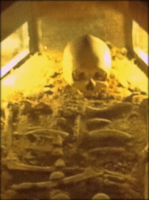 Remains of an old monk inside the crypt.