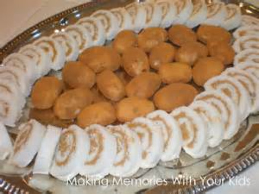 Irish Potato candy surrounded by Peanut Butter Log  candy made with mashed potatoes