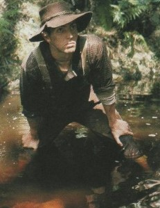 The forgotten forester, a Knysna woodcutter is caught in a typically wary pose in the screen version of Dalene Mathee's Kringe in die Bos.