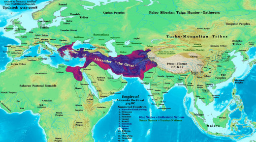 Alexander`s empire stretched from Greece, Nort Africa to North-Western India.