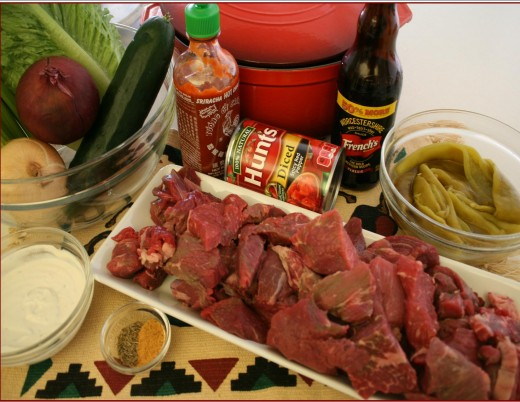 Beef, Hatch green chiles, cumin, beef seasonings, onions, tomatoes and dressing.