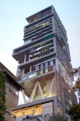 "Mukesh Ambani's house ""Antilia"" in Mumbai."