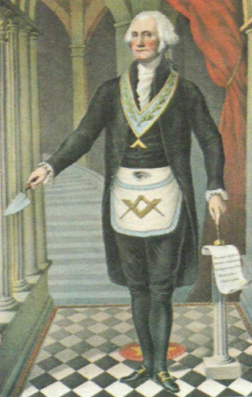 George Washington is represented here as the master mason of his lodge.