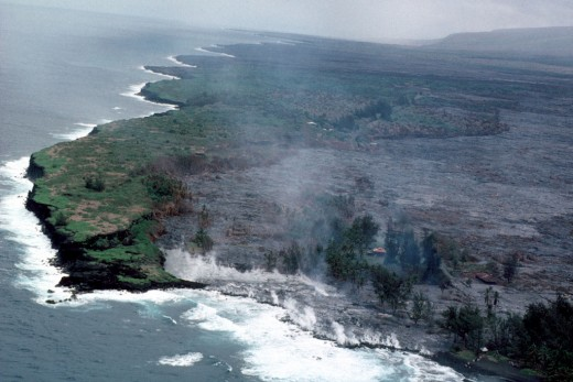 Lava has completely inundated Kalapana Village and entered the ocean at Kaimu Bay.