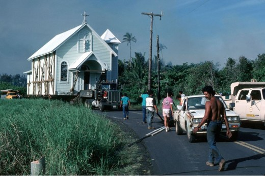 Star of the Sea Church being moved on a truck to a safe location