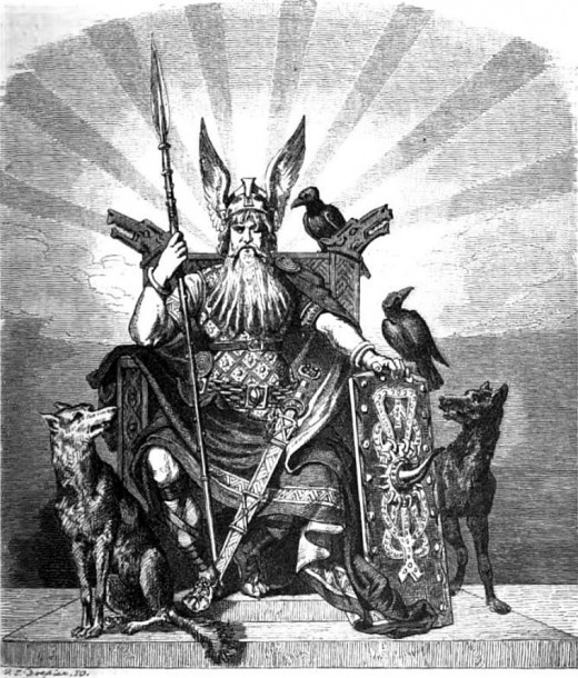 Odin with his wolves and ravens Hugin and Munin.