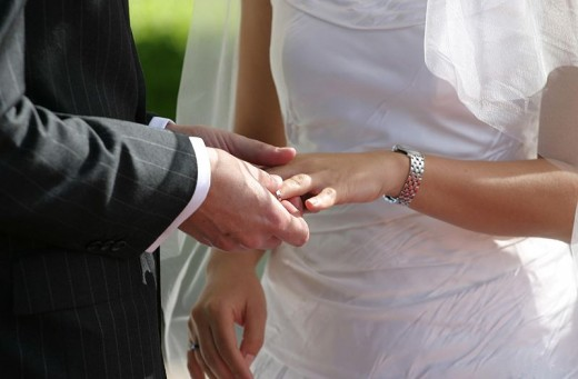 Placing of the wedding band symbolizes a covenant between married couples.